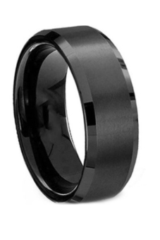 Fancyqube Fsahion Stainless Steel Ring Band Titanium Men Wedding Black-8 Black