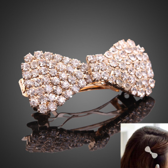 Fashion Jewelry Bling Golden Rhinestone Bowknot Hairpin Side-Knotted Clip