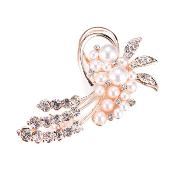Fashionable Opal Stone Flower Brooch Pin Women Garment Jewelry Rhinestone - intl