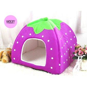 Foldable strawberry dog bed Pet Sleep Bed PURPLE-M - intl
