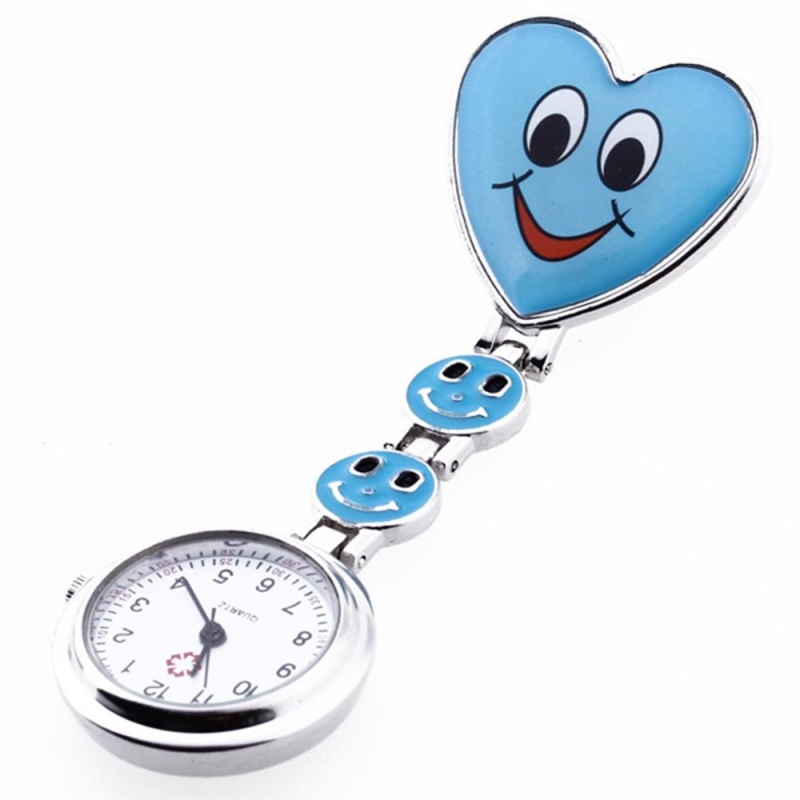 Heart Quartz Movement Clip Nurse Brooch Fob Tunic Watch Smiley Face Blue - intl bán chạy