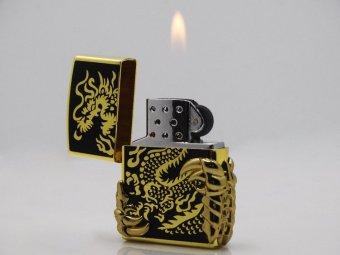 Bật Lửa Gas Dragon Claz F518 (Vàng phối đen)