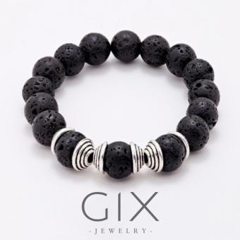 Vòng tay phong thủy đá LAVA núi lửa tự nhiên Gix Jewelry-GGV-0004