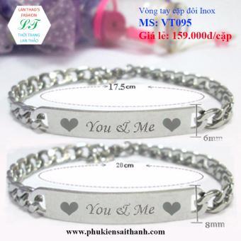 Vòng tay cặp đôi Inox You & Me dễ thương VT095 (Trắng)