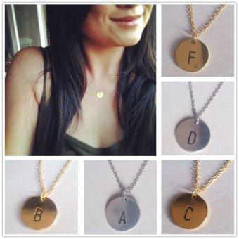 Letter Alphabet Round Pendant Chain Necklace Unisex Gold F - intl