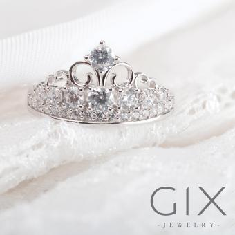 Nhẫn bạc nữ trang sức đẹp vương miện tam giác Gix Jewelry SPR-0029 (Trắng)