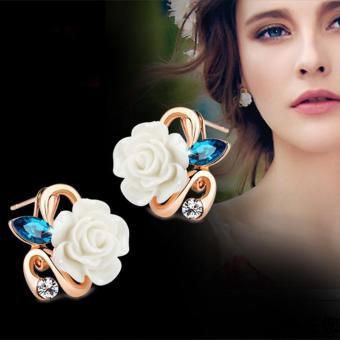 Bông tai nữ hoa hồng thời trang đính đá lâp lánh Hàn Quốc HKE-E878