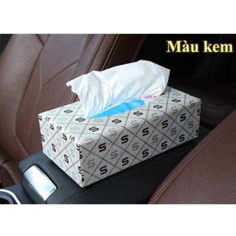 Hộp đựng khăn giấy trên ô tô VIPauto-HKG01 - Màu kem