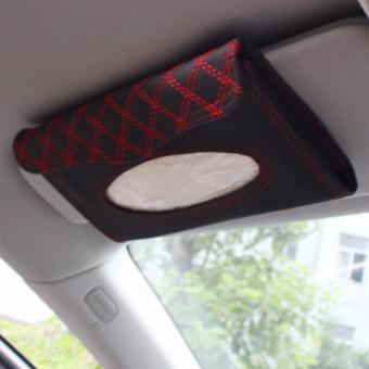 Hộp đựng vật dụng và khăn giấy trên ôtô+ tặng kèm bịch khăn giấy K65 (Đỏ)