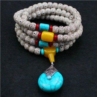 Tibetan Buddhist Buddha Meditation Prayer Bead Mala Bodhi Bracelet Necklace best Blue - intl