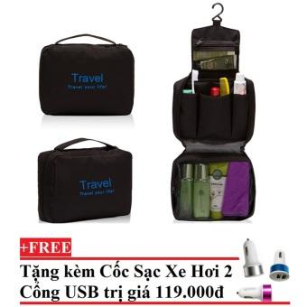 Túi đựng đồ cá nhân cao cấp Chodeal24h.vn (Đen) + Tặng Cốc sạc xe hơi 2 cổng USB