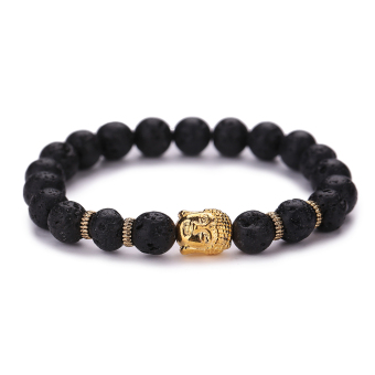 Women Men Fashion Black Lava Stone Buddha Bead Bracelets(Gold) - intl