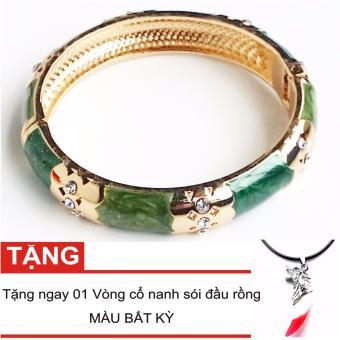 Vòng tay nữ đá mã não xanh đính pha lê + Tặng vòng cổ nanh sói (LAVT001)