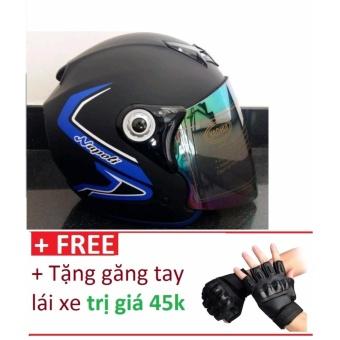 Mũ Bảo Hiểm moto napoli viền xanh + Tặng găng tay lái xe trị giá 45k