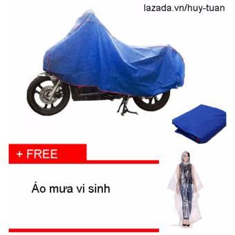 Bạt che xe máy ( màu xanh ) + free áo mưa vi sinh có khẩu trang