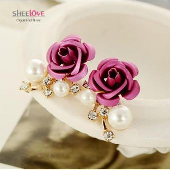 Bông tai nữ ngọc trai hoa hồng đính đá Zircon lấp lánh HKE-E627(Tím)