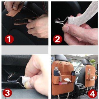 Bộ 2 Túi bao đựng đồ tiện ích 6 ngăn sau ghế ô tô kiêm bảo vệ ghế TD002 (Đen)