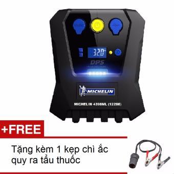 Máy bơm lốp 12V ô tô MICHELIN 12266 (Đen) + Tặng kèm 1 kẹp chì ắc quy ra tẩu thuốc