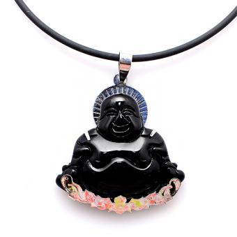 Dây chuyền Nam đá não đen mặt Phật Di Lặc THE OXFORD 6428 (Đen)