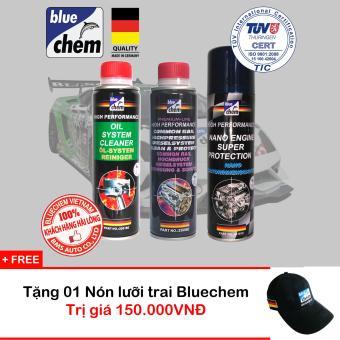 Bộ Sản Phẩm Bluechem Làm Sạch Và Bảo Vệ Động Cơ Commonrail Diesel tặng Nón Bluechem