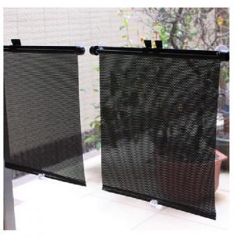 Bộ 2 màn che cửa sổ xếp gọn tự động 44x50cm cho xe hơi Senviet SV97 (Đen)