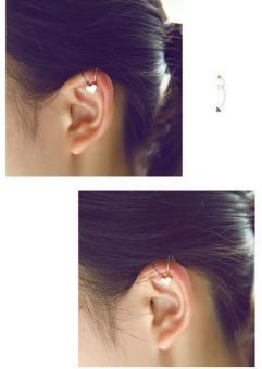 Bông tai nữ (Khuyên tai) đeo vành hình trái tim nhỏ xinh mầu vàng (BT49)