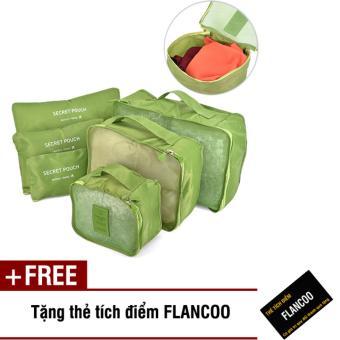 Bộ 6 túi đựng đồ đi du lịch Flancoo 3703 (Xanh lá) + Tặng thẻ tích điểm Flancoo
