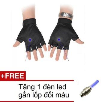 Găng tay hở ngón thể thao, lái xe size XL (Đen) + Tặng 1 đèn led gắn van xe đổi màu 206131