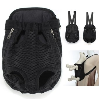 Nylon Pet Puppy Dog Carrier Backpack Front Tote Bag Net Bag XL Black - intl