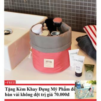 Túi đựng mỹ phẩm chống bể chai lọ (hồng) + Tặng kèm khay đựng mỹ phẩm để bàn