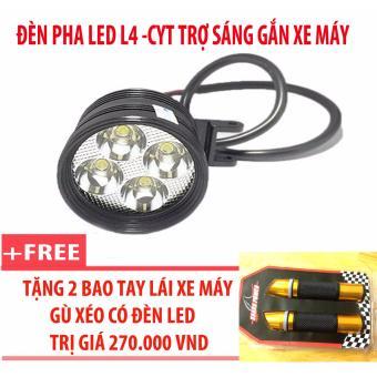 Đèn pha led L4-CYT trợ sáng gắn xe máy + 2 bao tay lái xe máy gù xéo có đèn led (vàng)