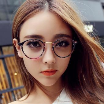 Gọng kính cận nam nữ Retro cao cấp họa tiết cá tính+Tặng bao da H168(Hồng)