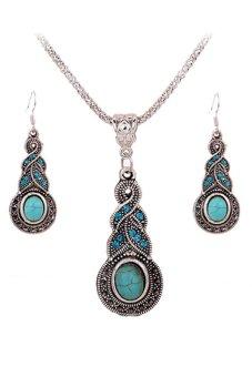 Bluelans Rhinestone Jewellery Set (Turquoise) (Intl)