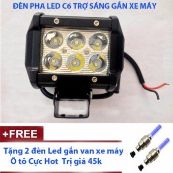 Đèn Pha Led C6 Trợ sáng gắn xe máy + tặng 2 đèn led gắn van xe máy, ô tô cực hot