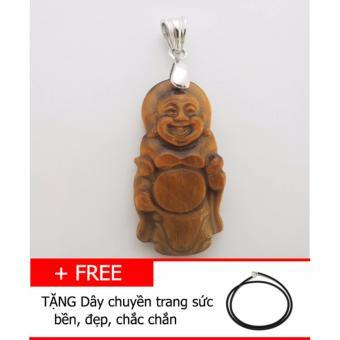 Mặt dây chuyền Đá mắt hổ TỰ NHIÊN hình Phật di lặc TG05