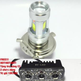 Đèn pha led Thanh Khang 3 chân H4/E01C gắn pha xe máy+tặng trợ sáng C3(2 chức năng)