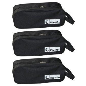 Bộ 3 túi đựng giày du lịch Family Plaza (Đen)
