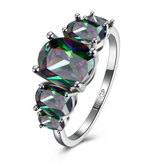 2016 Women Fashion Popular Platinum Plated Zircon Party Wedding Ring (8#) - intl