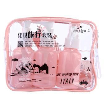 Bộ 10 vật dụng kích thước nhỏ để đựng thiết bị vật dụng chất lỏng vệ sinh hoặc mỹ phẩm trong du lịch (Hồng)