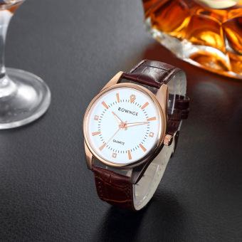 Đồng hồ nam dây giả da ANCOM GL (Nâu mặt Trắng)