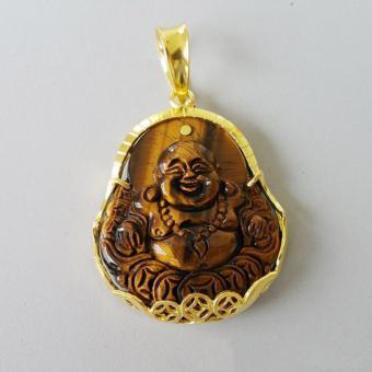 Mặt Dây Chuyền Phật Di Lặc Đá Mắt Hổ Bọc Bạc Mạ Vàng Phong thủy BẢO TÍN