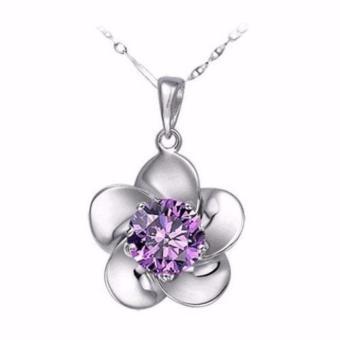 Dây chuyền bạc nữ mặt hoa 5 cánh đính đá
