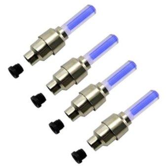 Bộ 4 đèn LED gắn van bánh xe máy ô tô (xanh)