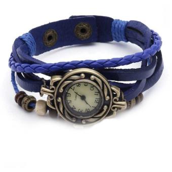 Đồng hồ nữ dây giả da Vintage (Xanh biển)