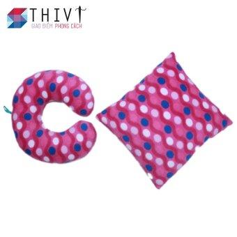 Bộ gối tựa lưng và gối chữ U loại trung 38 THIVI (Tím - họa tiết bi trắng xanh)