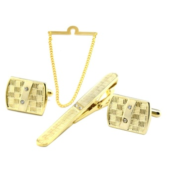 4 PCS Men Metal Tie Chain Tie Clip Cufflinks Set 1 Chain 1 Clip 1 Pair Cufflinks for Office Meetings Anniversary Wedding Gold - intl