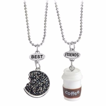 Fancyqube 2 Pcs/Set Best Friends BFF Pendant Bead Chain Necklace Fastfood Coffee Cup Oreo Glitter Biscuit Kids Jewelry Boys Girls Gift - intl