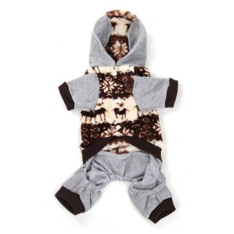 Warm Pet Cat Dog Puppy Winter Coat Cotton Jumpsuit Clothes Jacket Grey L - intl