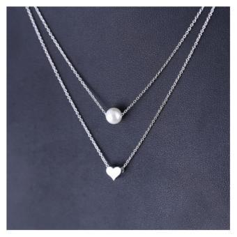 Dây chuyền bạc 2 tầng ngọc trai - trái tim