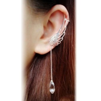 Occident Style Fairy Angel Wings Ear Clip Crystal Chain Earring Silver - intl